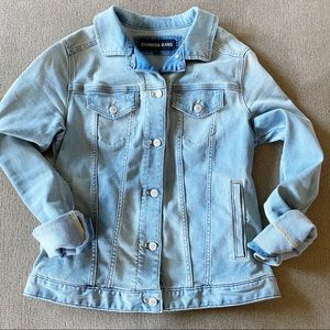 Express Light Wash Distressed Stretch Denim Jacket